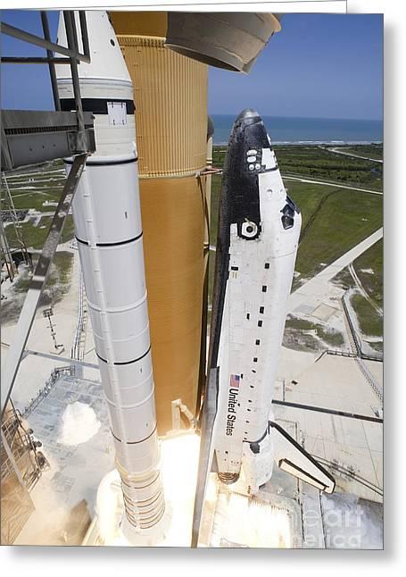 Atlantis Greeting Cards - Space Shuttle Atlantis Lifts Greeting Card by Stocktrek Images