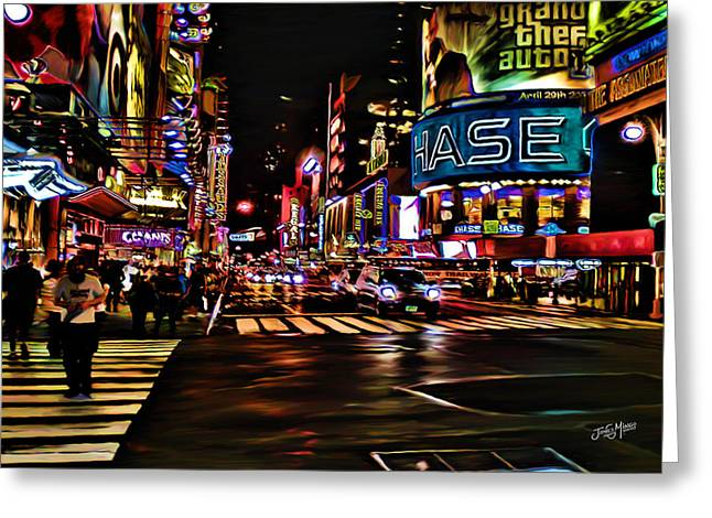 New York Pastels Greeting Cards - 42nd St at 7th Ave Greeting Card by James  Mingo