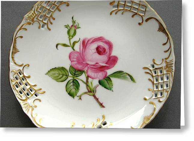 Hand Painted Porcelain Ceramics Greeting Cards - 432 small Rose Plate Greeting Card by Wilma Manhardt