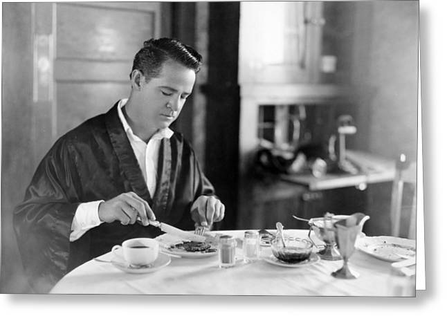 Bathrobe Greeting Cards - Film Still: Eating & Drinking Greeting Card by Granger