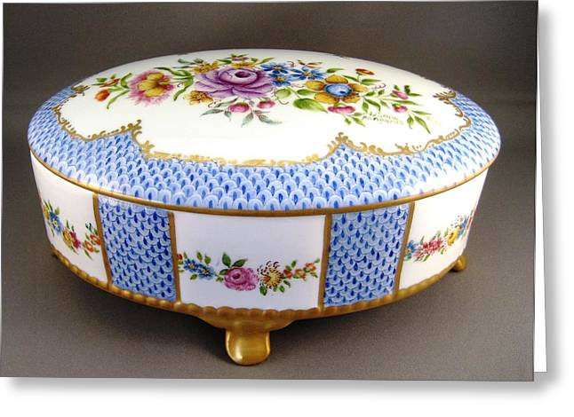 Style Ceramics Greeting Cards - 444 German Porcelain Box Greeting Card by Wilma Manhardt