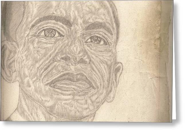 44th President Barack Obama by Artist Fontella Moneet Farrar Greeting Card by Fontella Farrar