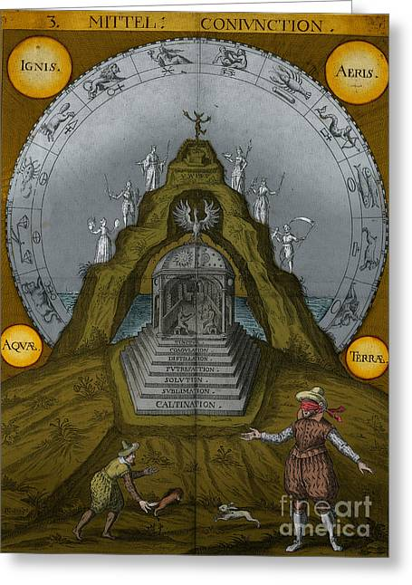 Recently Sold -  - Enhanced Greeting Cards - Alchemy Illustration Greeting Card by Science Source