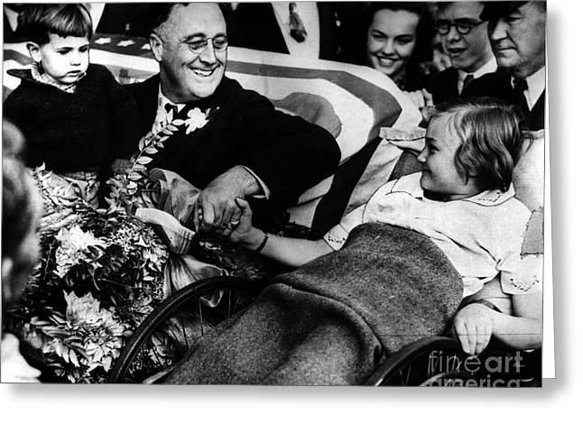 Shaking Hands Greeting Cards - Franklin D. Roosevelt Greeting Card by Granger