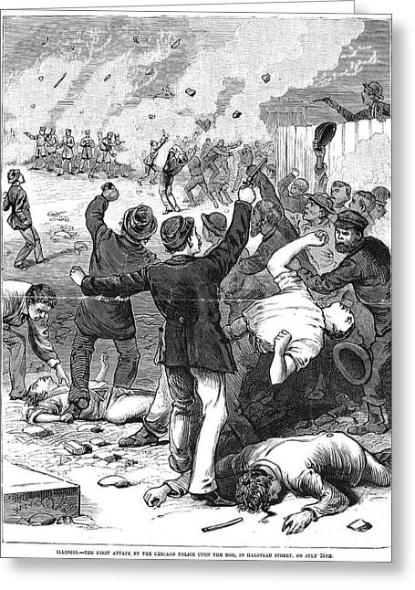 Throwing Stones Greeting Cards - Great Railroad Strike, 1877 Greeting Card by Granger