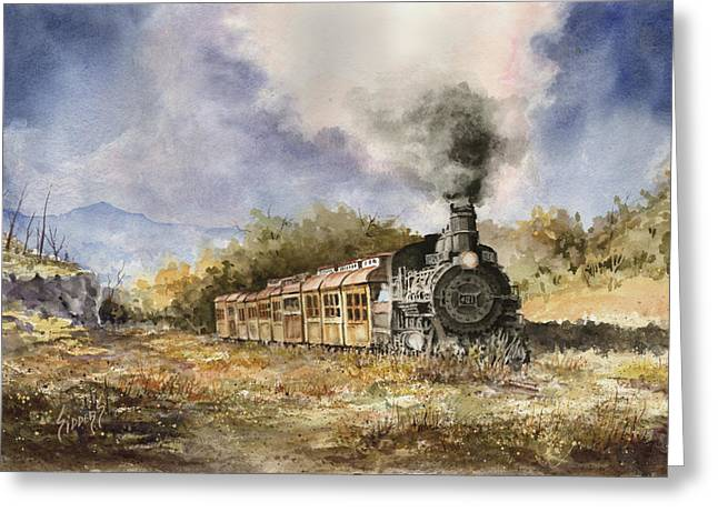 Trains Paintings Greeting Cards - 481 From Durango Greeting Card by Sam Sidders