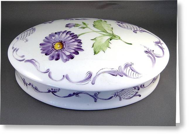 European Ceramics Greeting Cards - 488 oval Aster-Box Greeting Card by Wilma Manhardt