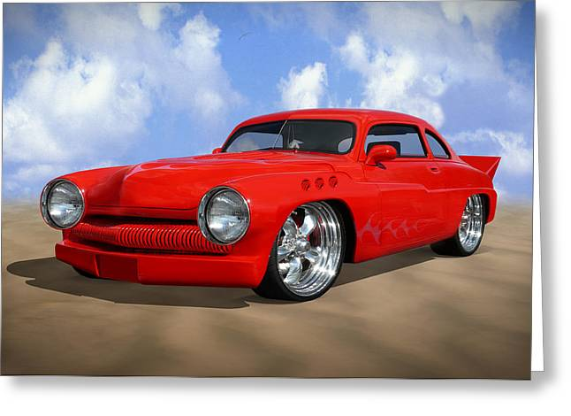 Red Street Rod Greeting Cards - 49 Mercury Greeting Card by Mike McGlothlen