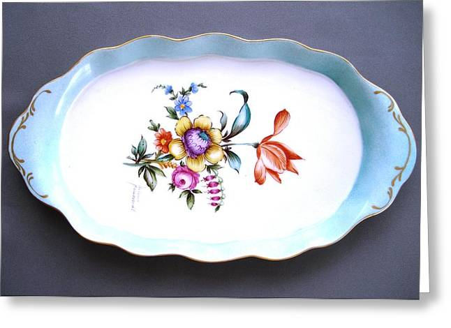 Style Ceramics Greeting Cards - 495 oval tray Dresden Style Greeting Card by Wilma Manhardt