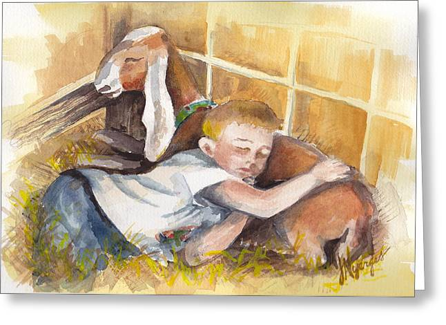 Whidbey Island Wa Greeting Cards - 4H Series 2 Goat Nap Greeting Card by Judi Nyerges