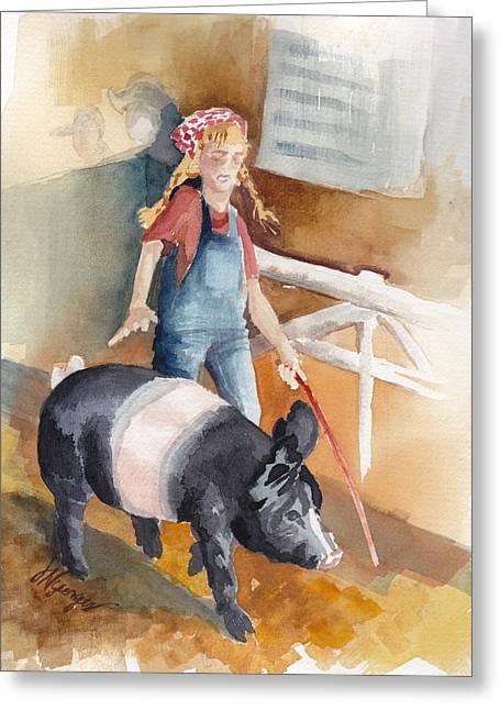 Whidbey Island Wa Greeting Cards - 4H Series 3 Pig Tails Greeting Card by Judi Nyerges