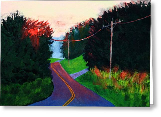 Rural Maine Roads Paintings Greeting Cards - 4th of July Sunset Greeting Card by Laurie Breton