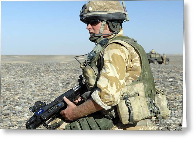 On The Lookout Greeting Cards - A British Army Soldier Provides Greeting Card by Andrew Chittock