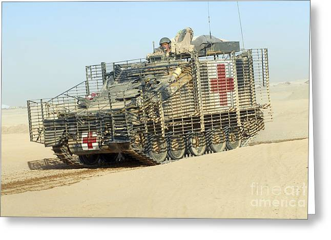 Foreign Aid Greeting Cards - A Fv107 Scimitar Armoured Greeting Card by Andrew Chittock