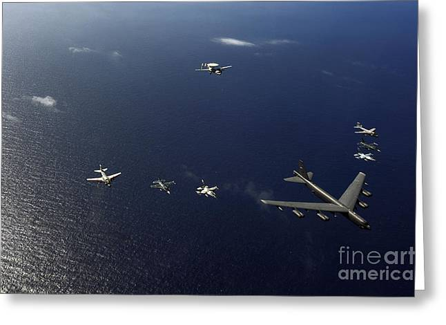 Guam Greeting Cards - A U.s. Air Force B-52 Stratofortress Greeting Card by Stocktrek Images