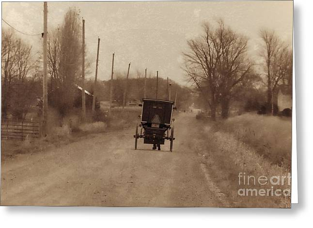 Rural Indiana Greeting Cards - Amish Buggy Greeting Card by David Arment