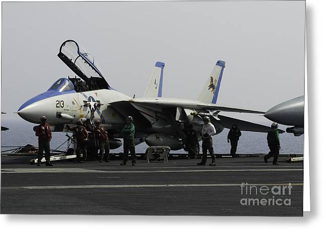 Us Open Photographs Greeting Cards - An F-14d Tomcat On The Flight Deck Greeting Card by Gert Kromhout