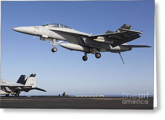 F-18 Greeting Cards - An Fa-18f Super Hornet During Flight Greeting Card by Gert Kromhout