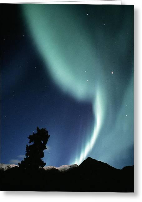 Light Emission Greeting Cards - Aurora Borealis Greeting Card by Alan Sirulnikoff