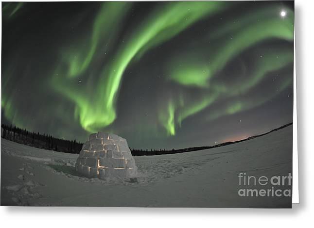 Aurora Borealis Over An Igloo On Walsh Greeting Card by Jiri Hermann