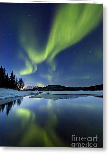 Best Sellers -  - Reflection In Water Greeting Cards - Aurora Borealis Over Sandvannet Lake Greeting Card by Arild Heitmann