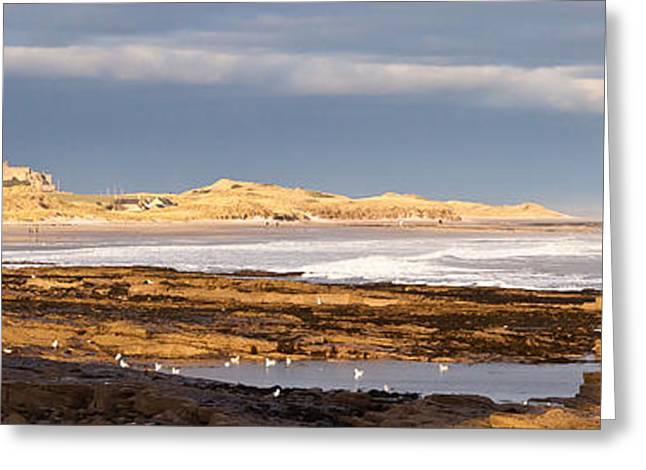 Sand Castles Greeting Cards - Bamburgh Castle Greeting Card by Gary Finnigan
