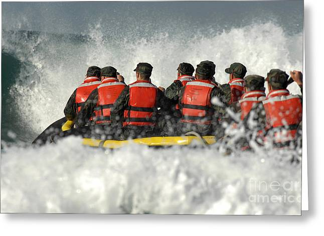 Inflatable Boats Greeting Cards - Basic Underwater Demolitionseal Greeting Card by Stocktrek Images