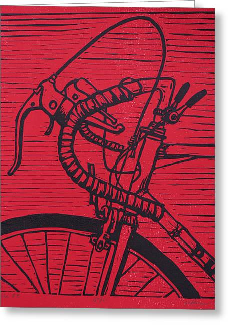 Blockprint Drawings Greeting Cards - Bike 2 Greeting Card by William Cauthern