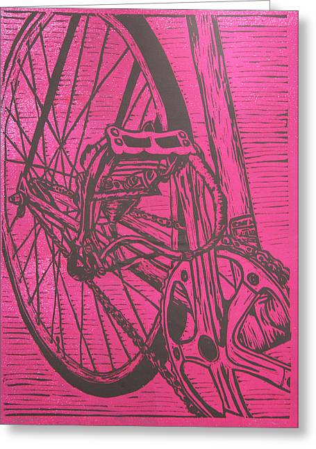 Lino Drawings Greeting Cards - Bike 3 Greeting Card by William Cauthern