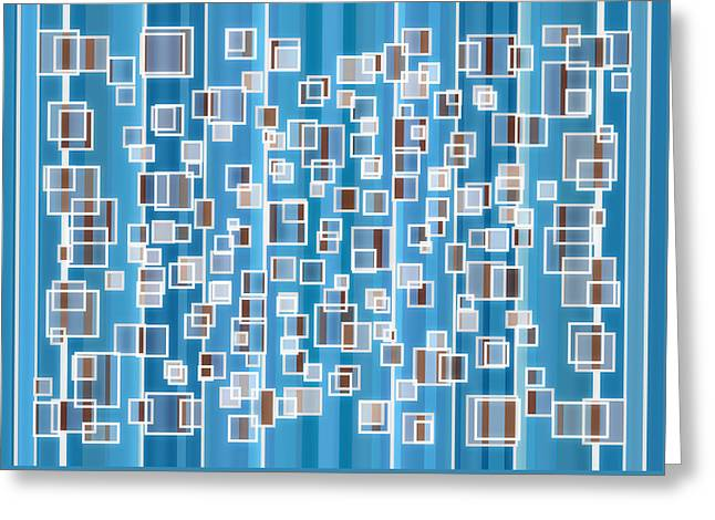 Vertical Drawings Greeting Cards - Blue Abstract Greeting Card by Frank Tschakert