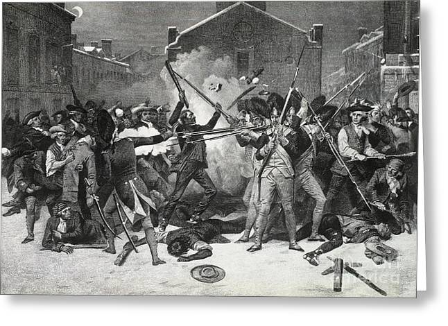 Chappel Greeting Cards - Boston Massacre, 1770 Greeting Card by Photo Researchers