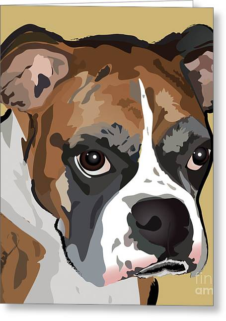 Recently Sold -  - Puppy Digital Art Greeting Cards - Boxer Dog Portrait Greeting Card by Robyn Saunders
