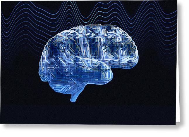 Brain, Conceptual Computer Artwork Greeting Card by Mehau Kulyk