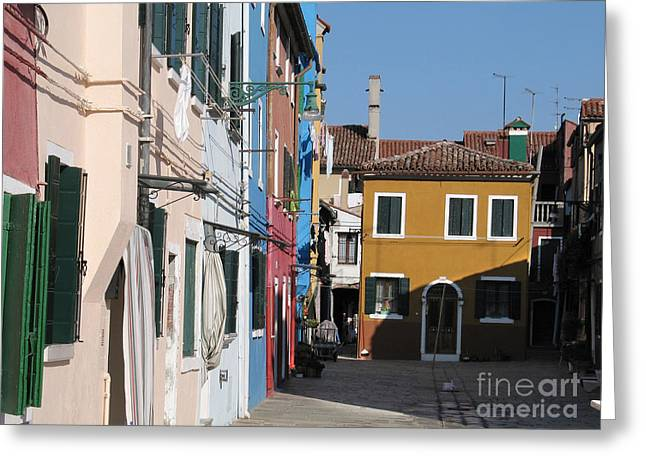 Coloured Greeting Cards - Burano island. Venice Greeting Card by Bernard Jaubert