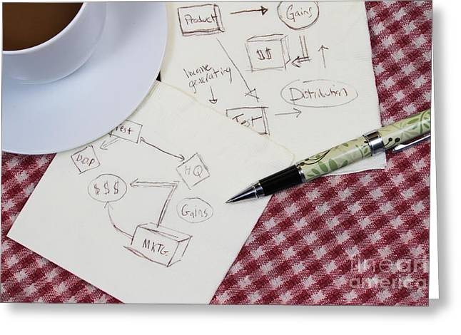 Table Cloth Greeting Cards - Business Plan Greeting Card by Photo Researchers, Inc.