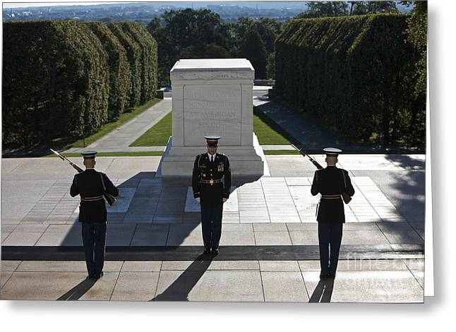 Soldiers National Cemetery Greeting Cards - Changing Of Guard At Arlington National Greeting Card by Terry Moore