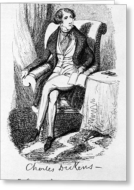 Cruikshank Greeting Cards - Charles Dickens, English Author Greeting Card by Photo Researchers