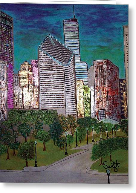 Magnificent Mile Mixed Media Greeting Cards - Chicago Michigan Ave Greeting Card by Char Swift