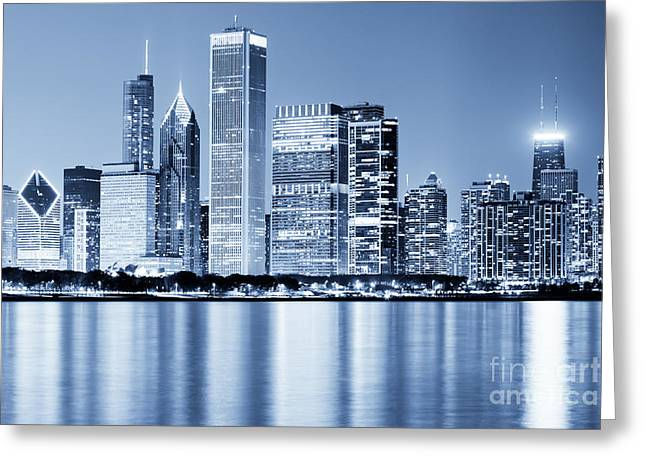 Black And White Photos Greeting Cards - Chicago Skyline at Night Greeting Card by Paul Velgos