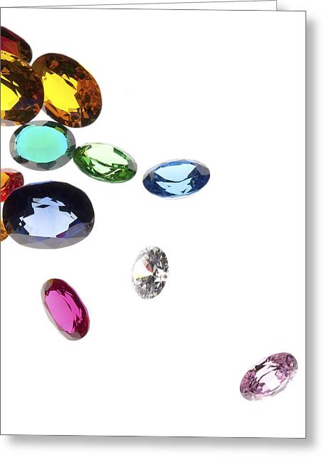Diamond Jewelry Greeting Cards - Colorful Gems Greeting Card by Setsiri Silapasuwanchai
