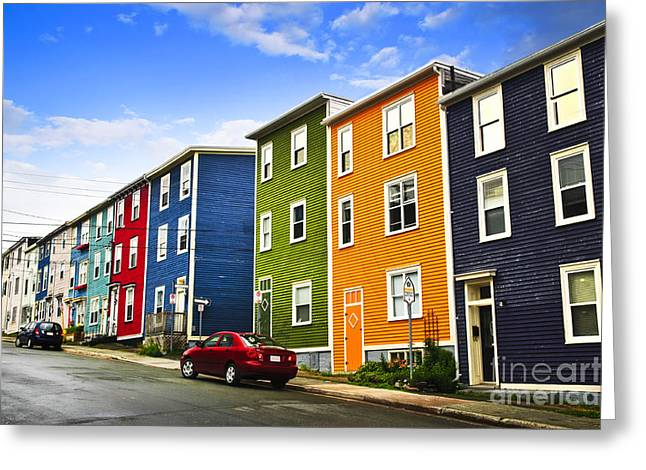 Row Greeting Cards - Colorful houses in St. Johns Newfoundland Greeting Card by Elena Elisseeva