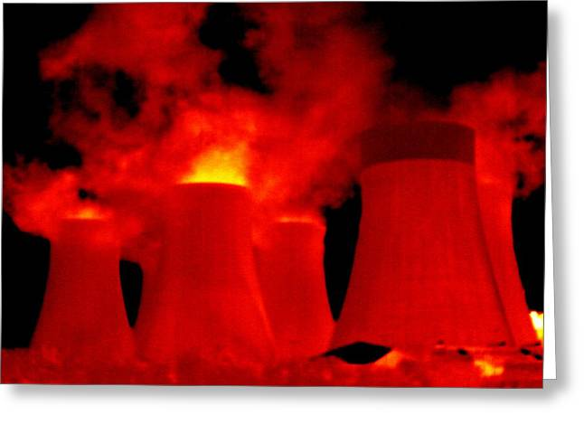 Cooling Towers, Thermogram Greeting Card by Tony Mcconnell