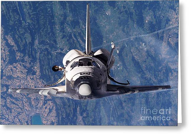 Docking Greeting Cards - Discovery Docking With Iss, Sts-114 Greeting Card by NASA / Science Source