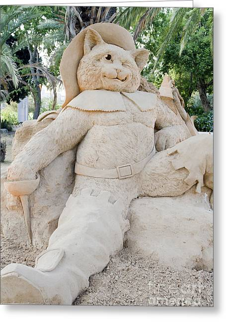 Puss Greeting Cards - Fairytale Sand Sculpture  Greeting Card by Sv