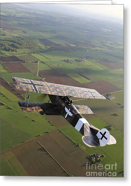 Foreign Military Greeting Cards - Fokker D.vii World War I Replica Greeting Card by Daniel Karlsson