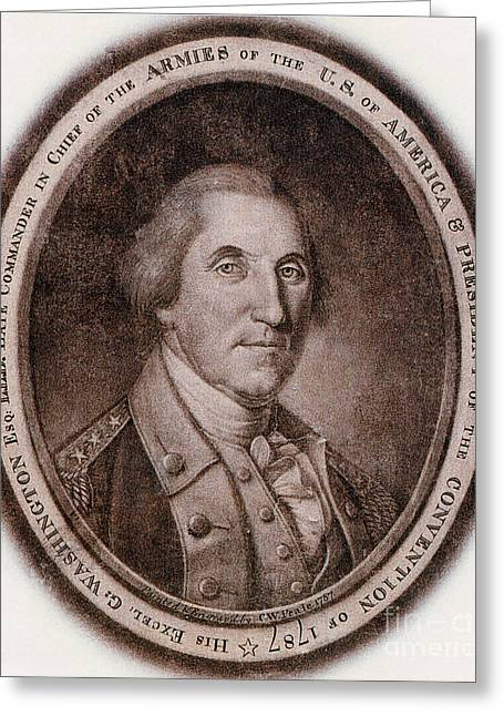 Colonial Man Greeting Cards - George Washington, 1st American Greeting Card by Photo Researchers