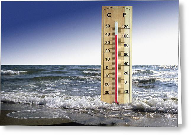 Rising Sea Level Greeting Cards - Global Warming, Conceptual Image Greeting Card by Victor De Schwanberg