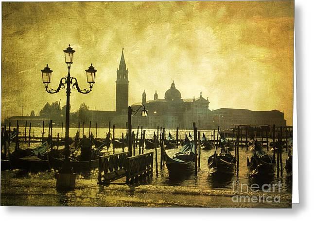 Gondolier Greeting Cards - Gondolas. Venice Greeting Card by Bernard Jaubert