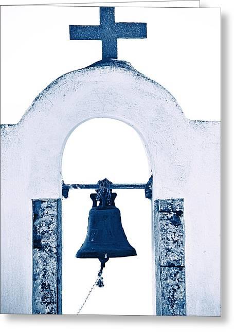 Bell Tower Greeting Cards - Greek Chapel Greeting Card by Joana Kruse