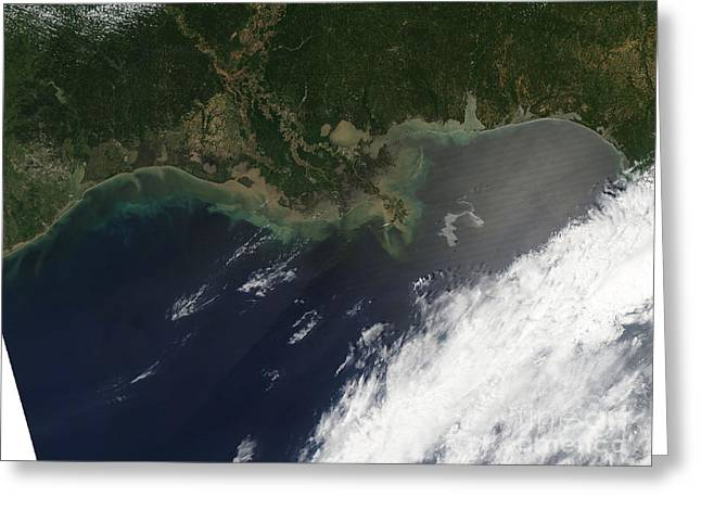 Oil Slick Greeting Cards - Gulf Oil Spill, April 2010 Greeting Card by Nasa